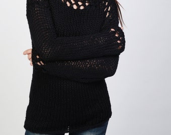 Hand knit sweater eco cotton pulled over sweater black top