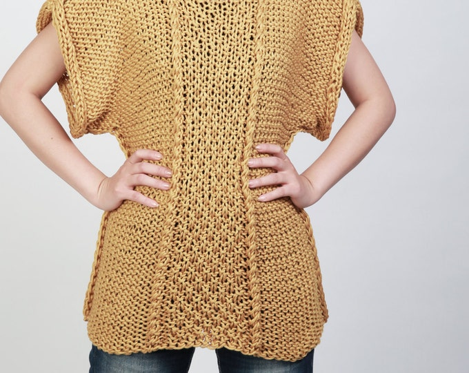 Hand knit sweater Eco cotton Tunic woman sweater rolled edge Kimono sleeve woman sweater Mustard Yellow