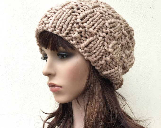 Hand Knit Hat Womens Beehive Beret Hat wheat Beret Wheat Beanie Womens Accessories