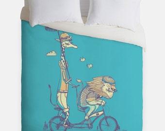Bicycle Built for Love Lion Giraffe Duvet Cover - Animal Safari Bedroom Decor - Made in USA - Great Bedroom Artwork