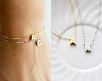 Initial Bracelet - Uppercase Silver or Gold Letter Charm Bracelet Chain Custom Personalized Bridesmaid Gift Wedding Bridal Monogram