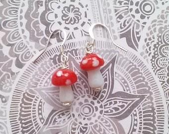Red and White Mushroom Earrings - Kawaii Gamer Jewelry