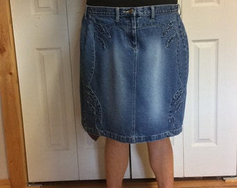 2X Blue Jean Skirt with Recycled Neckties/Plus Size Skirt/Paisley Silk Ties/Short Skirt/Denim Skirt/Upcycled Repurposed Clothing