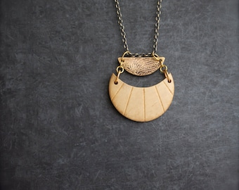 Etched Brass Crescent Pendant Necklace, Rustic Patina, Tribal Texture, Cream Coconut Wood Moon, Boho Jewellery
