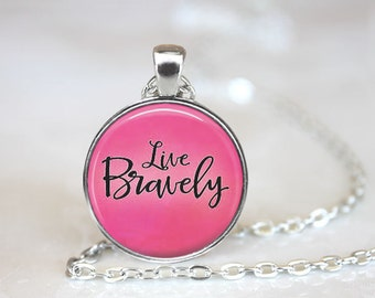 Live Bravely Changeable Magnetic Pendant Necklace with Organza Bag