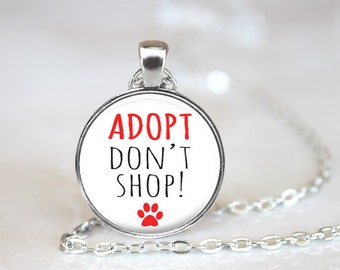 Adopt Don't Shop Changeable Magnetic Pendant Necklace with Paw Print Organza Bag
