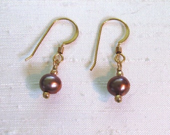 Pearl Earrings: Simple Wire-Wrapped Spice FWP Dangles w/14Kt GF Ear Hooks