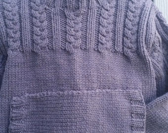 Hand Knit Cable Pullover with Kangaroo front Pocket, size 3-4T