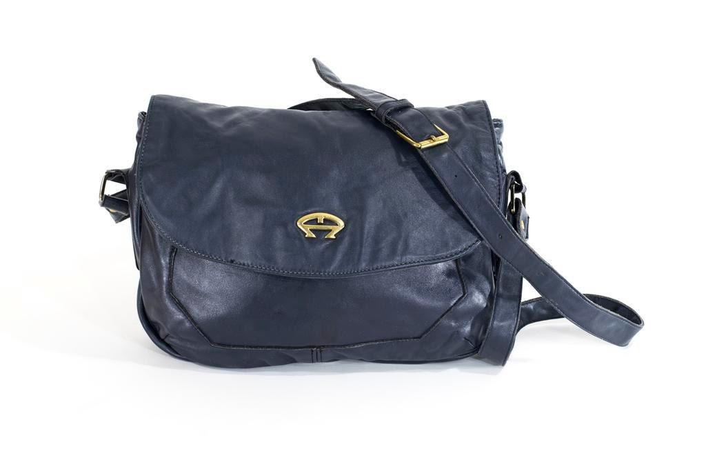 Etienne Aigner Vintage Navy Blue Leather Bag Crossbody
