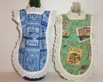 Dish Soap Apron, Handmade, Gardening, Eyelet Lace, Kitchen Decor, Detergent Cover, Bottle Gift Wrap