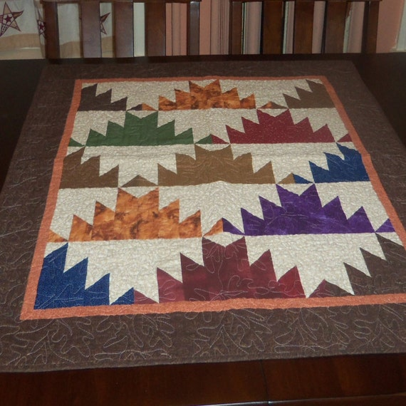 Quilted Wall Hanging, 31x38 inches,  Earth Tone Colors, Sale Priced, Mountain Majesty, Table Topper, Fabric Wall Decor,  Machine Quilted