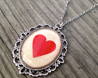 Vintage Playing Card Heart Necklace