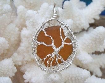 Tree of Life jewelry - Lake Michigan beach glass necklace