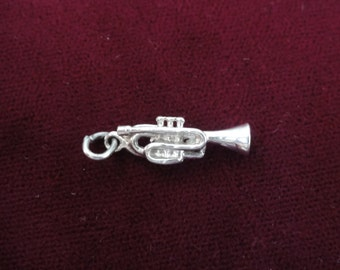 Trumpet Sterling Silver 3D Charm Pendant Vintage charm, Trumpet Charm, Music Charm, Band Charm , Brass Instrument, Musician, Marching Band