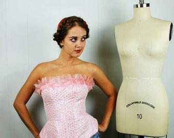 Sequined Pink Bustier, Pink Bustier Top, Corset Top, Beaded Corset Bustier, Modern Cabaret, Stage Wear