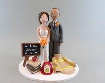 Firefighter & Teacher Custom Wedding Cake Topper