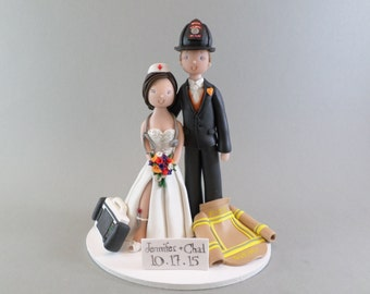 Firefighter EMT Nurse Personalized Wedding Cake Topper