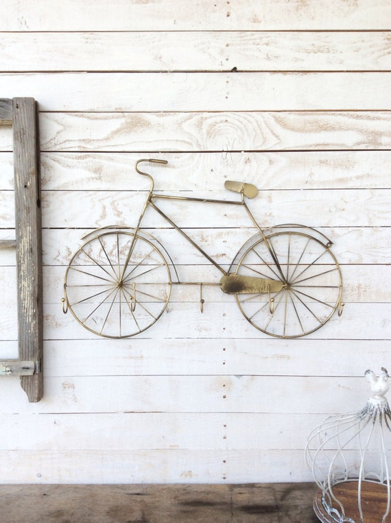 Bicycle wall decor bicycle bike art bicycle art five hooks for Bicycle wheel wall art