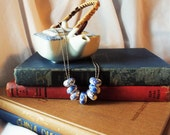 Chinoiserie Necklace Blue White Ceramic Beads on Double Ball Chain