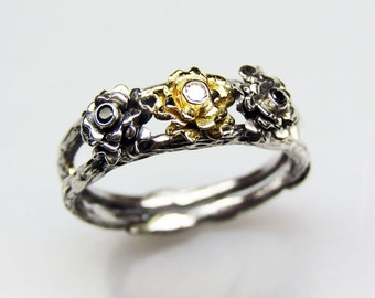 Triple Rose Engagement Ring - In Silver and 18K Gold