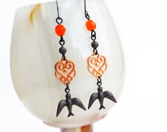 Orange Bird Dangle Earrings Black Brass Bird Earrings Swallow Jewelry Orange Glass Dangles Long Bird Earrings Black Metal Orange Dangles