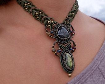 Rainbow Obsidian and Labradorite Macrame Necklace | Double Pendant | Micro-Macrame | Unisex, Healing Crystal Jewelry