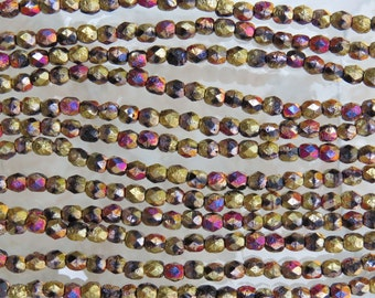 4mm Faceted 2 Tone Gold and Glitz Etched Firepolish Czech Glass Beads - Qty 50 (DW131)