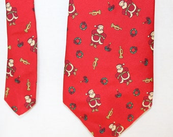 Vintage Christmas Holiday Necktie by Stafford, Silk, Made in USA