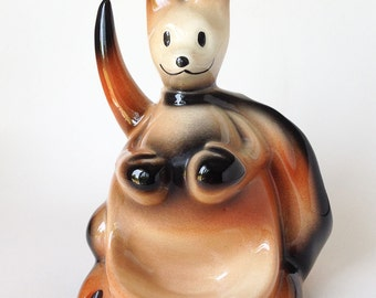 Vintage Mid-Century Joey Kangaroo Ceramic Dresser Caddy, Jewelry Ring Holder,  McCoy Fine Ent Inc.