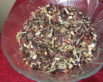 Organic Hisbiscus fruity Tea Blend loose bulk -  rosehips, orange peel, lemongrass, lemon peel oil - vitamin c hot iced high blood pressure