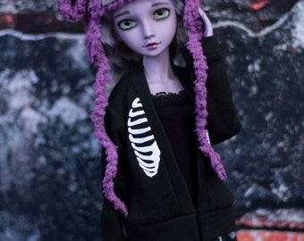 """Purple Zombie Lamb Hat for Minifee BJD or Resinsoul - Sheep Hat - Goth Doll Clothes - Animal Hat for 7"""" head"""