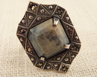 Size 5.25 Antique Sterling Art Deco Ring with Square Blue Green Agate Stone and Marcasite Accents