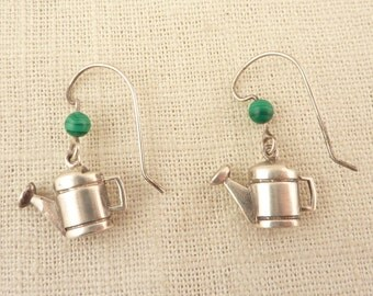 RESERVED for Nicole=====Vintage Sterling Watering Can Fish Hook Earrings with Malachite Accent Bead