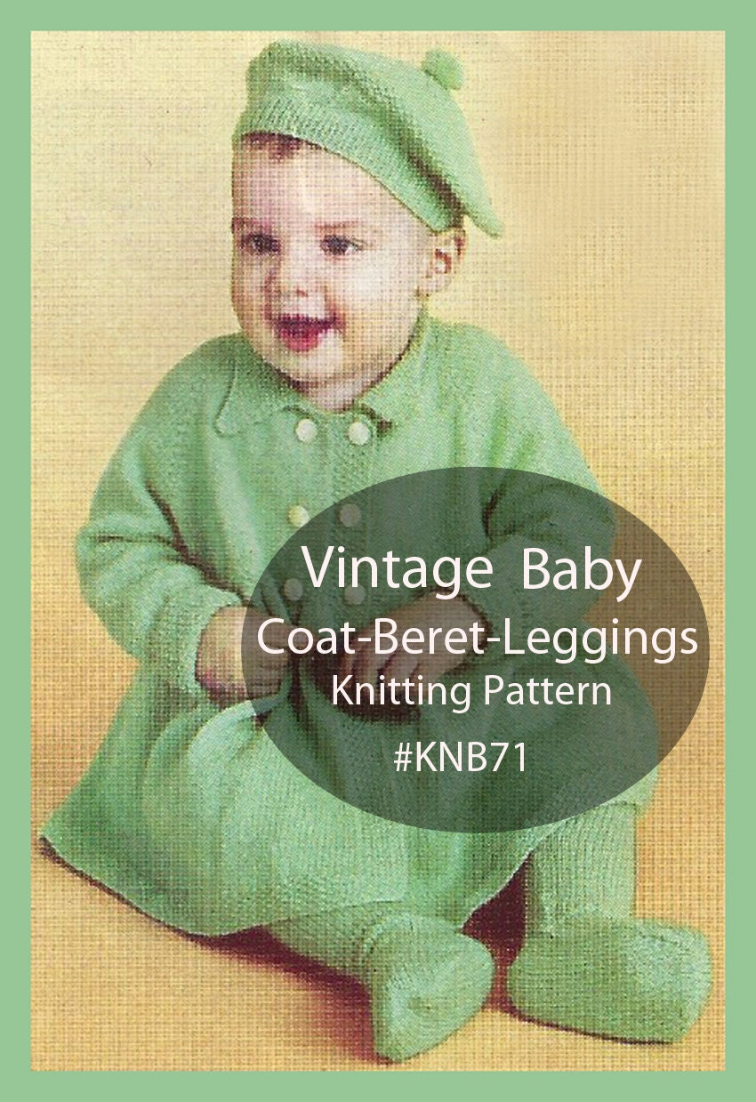 Vintage Baby Coat Beret Leggings Knitting Pattern Baby Set To