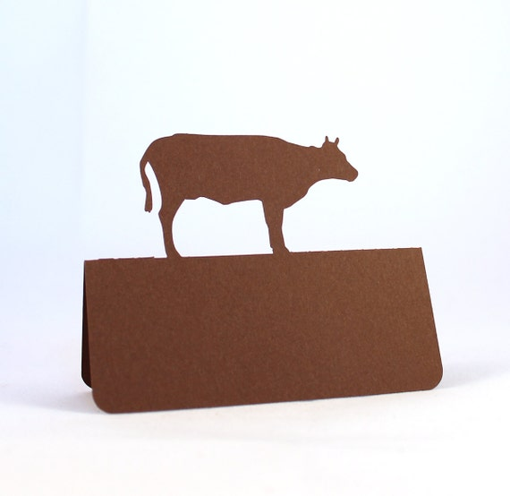 Cow Place Cards Set of 50, Beef, Meal Choice, Wedding