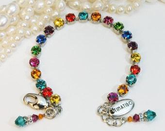 Multicolored Bracelet Rainbow Swarovski Crystal Bracelet Fun 6mm Rhinestones Colorful Bridal Tennis Bracelet,Silver Wedding Bridesmaids,SB2