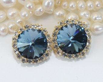 Navy Clip On Earrings Gold Navy Blue Swarovski Crystal Clip On Earrings Navy Wedding Statement 14mm Halo Rhinestones Gold,Denim Blue,GE110