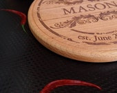Personalized mahogany cutting board, round wooden custom engraved cutting board, cheese board, serving board, wedding, anniversary gift