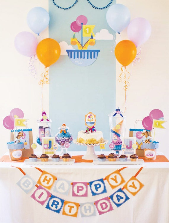 Noah's Ark Birthday, Two by Two, Giraffe Twin Birthday DIY Party Package by MayDetails: Full Collection Party Kit