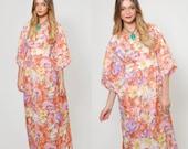 SALE Vintage 70s KIMONO Dress WATERCOLOR Flower Print Empire Waist Boho Maxi Dress
