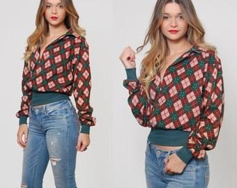 SALE Vintage 70s Printed Crop Top Green & Brown DIAMOND Print Pullover ARGLYE Sweater Indie Jumper