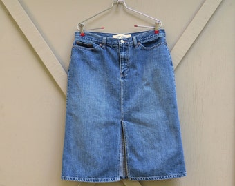 vintage Gap Jeans Faded Dark Wash Denim Slit Front Jean Skirt