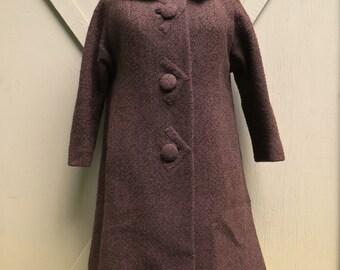 50s vintage Dark Brown Boucle Wool Coat with Mink Fur Collar / Michel Daniel Paris