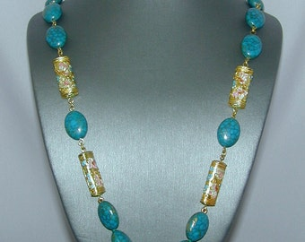 Unusual combination of turquoise and cloisonné beads on brass chain