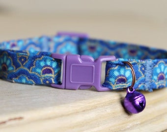 Blue Lotus Cat Collar with Antique Copper, Purple Bell or Charm