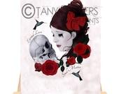 Artist Trading Card - Gothic Art - Girl & Skull Portrait - Roses - Soul Mates