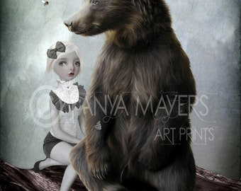 Fairytale Art Print - Big Eyed Girl & Bear - Goldilocks