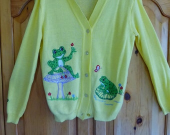 Groovy 1970s Embroidered Grandpa Cardigan Sweater with Frogs, Mushroom, Butterfly