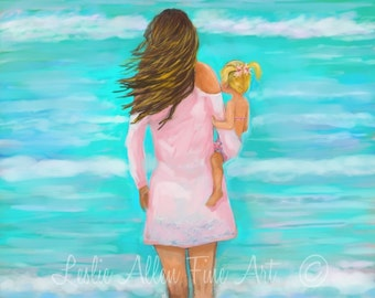 """Motherhood Art Print Beach Art Children Art Print Mother Daughter Art Children Beach Theme Ocean """"Mommy Daughter Day"""" Leslie Allen Fine Art"""