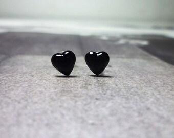 Black Puffy Heart Stud Earrings, Sterling Silver Heart Earrings, Heart Stud Earrings